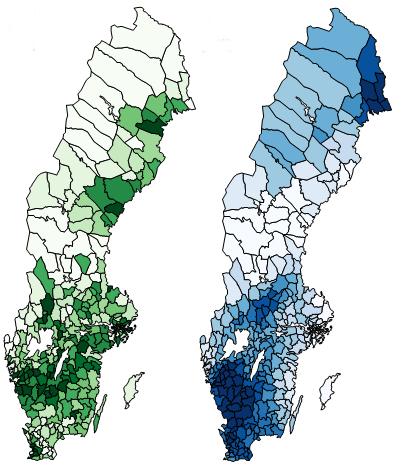 Valdeltagande (grön karta) och regn (blå karta) på valdagen den 15 september 1985. Mörkare grönt och blått indikerar högre valdeltagande respektive mer regn.